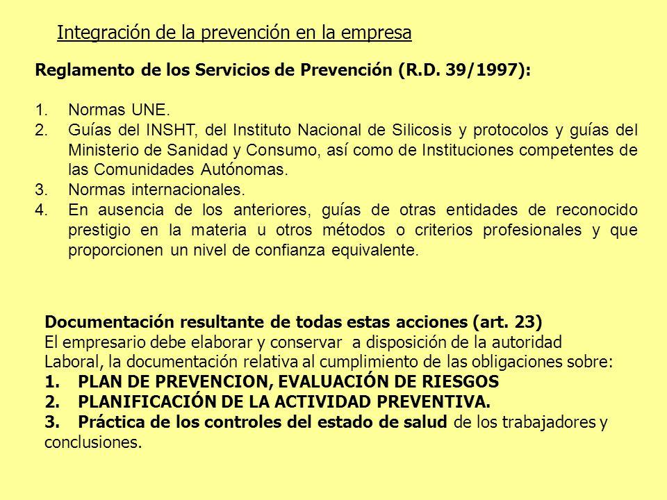 Integración de la prevención en la empresa Reglamento de los Servicios de Prevención (R.D. 39/1997): 1.Normas UNE. 2.Gu í as del INSHT, del Instituto