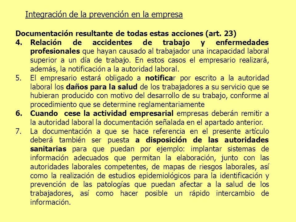 Integración de la prevención en la empresa Documentación resultante de todas estas acciones (art. 23) 4.Relación de accidentes de trabajo y enfermedad