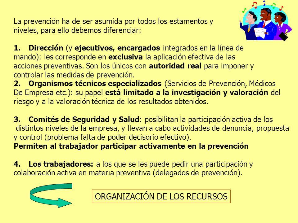 La prevención ha de ser asumida por todos los estamentos y niveles, para ello debemos diferenciar: 1.Dirección (y ejecutivos, encargados integrados en