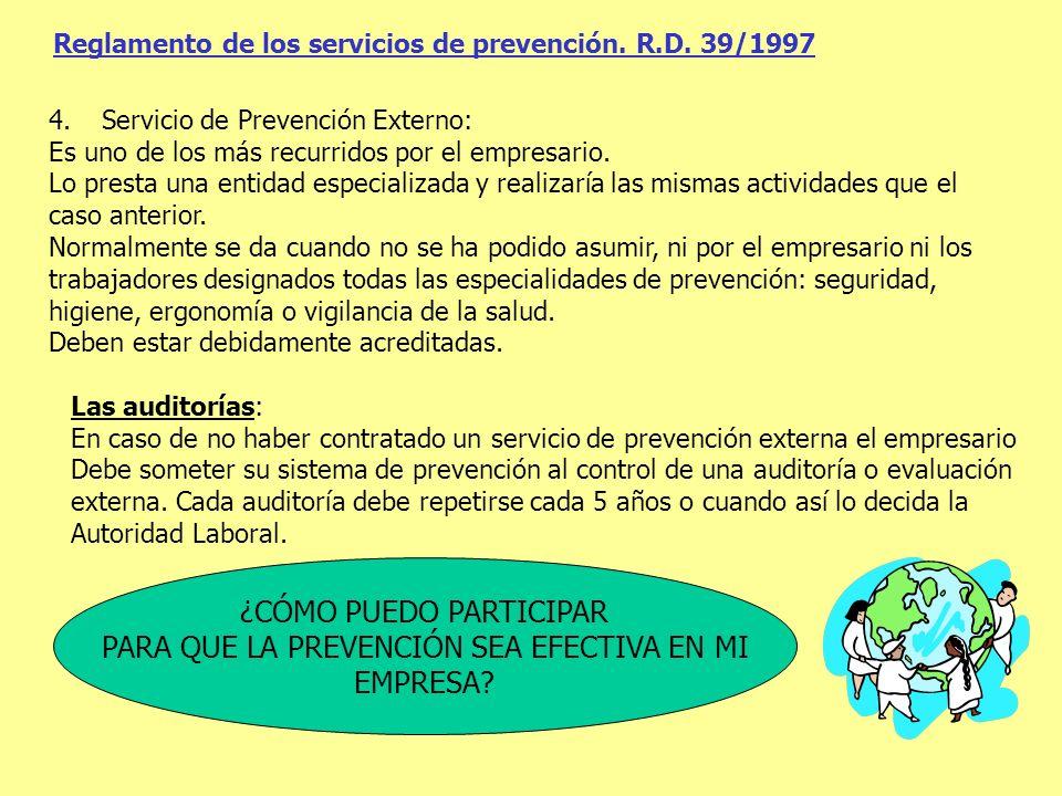 Reglamento de los servicios de prevención. R.D. 39/1997 4.Servicio de Prevención Externo: Es uno de los más recurridos por el empresario. Lo presta un