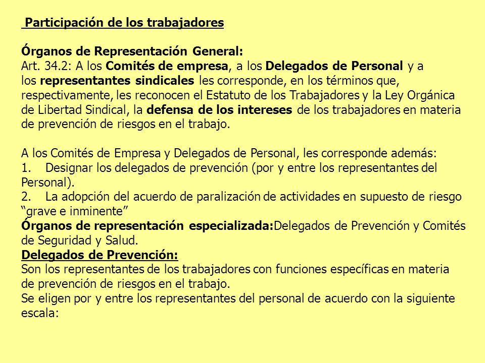 Participación de los trabajadores Órganos de Representación General: Art. 34.2: A los Comités de empresa, a los Delegados de Personal y a los represen