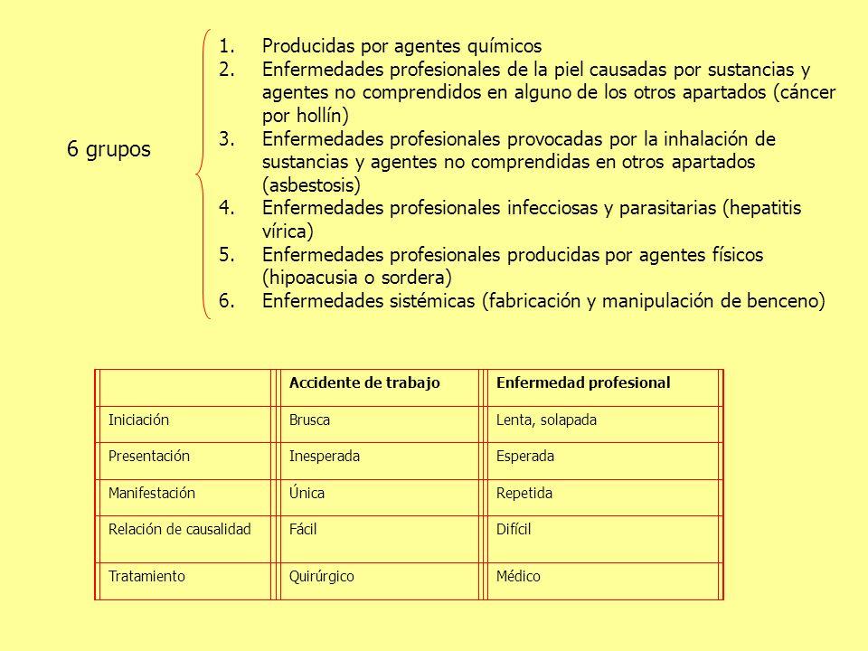 1.Producidas por agentes químicos 2.Enfermedades profesionales de la piel causadas por sustancias y agentes no comprendidos en alguno de los otros apa