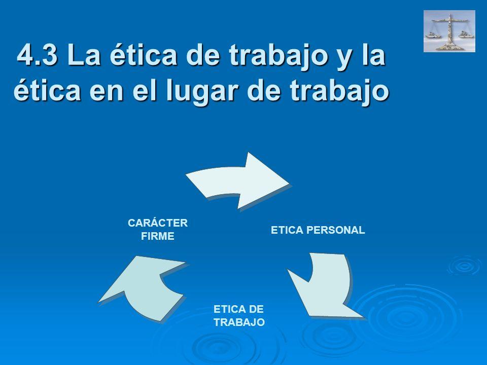 4.3 La ética de trabajo y la ética en el lugar de trabajo ETICA PERSONAL ETICA DE TRABAJO CARÁCTER FIRME
