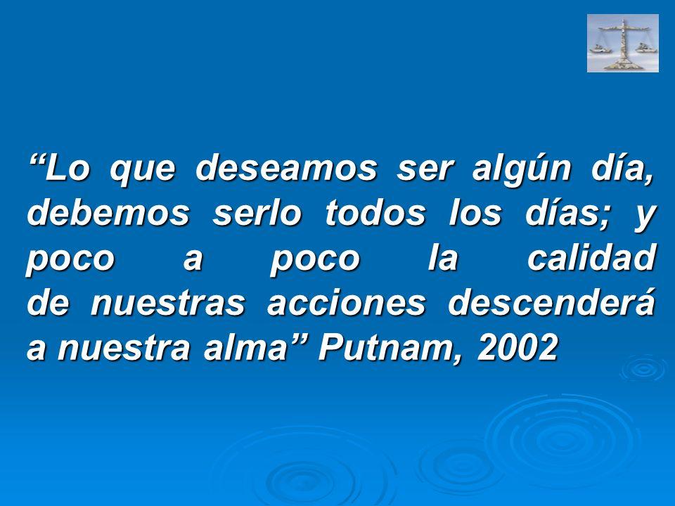 Lo que deseamos ser algún día, debemos serlo todos los días; y poco a poco la calidad de nuestras acciones descenderá a nuestra alma Putnam, 2002