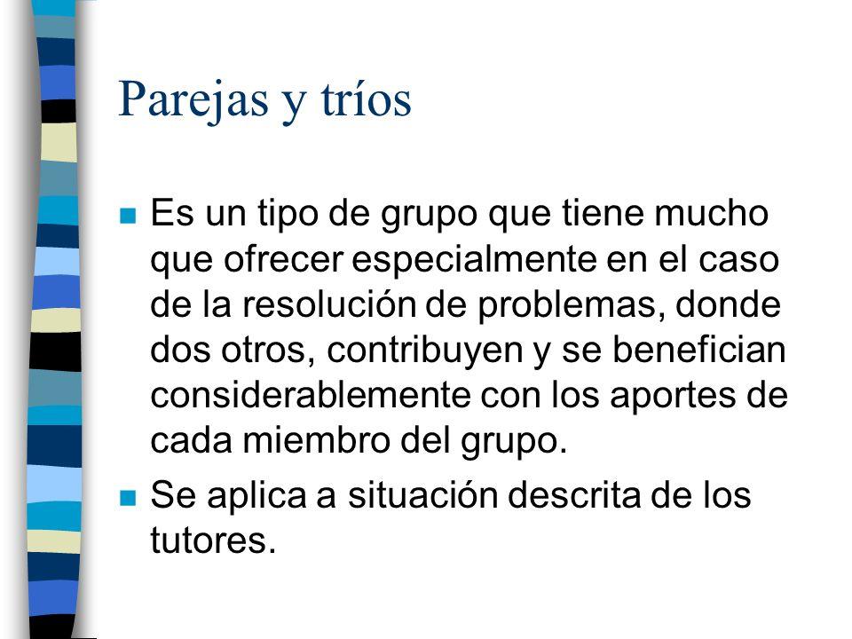 Parejas y tríos n Es un tipo de grupo que tiene mucho que ofrecer especialmente en el caso de la resolución de problemas, donde dos otros, contribuyen