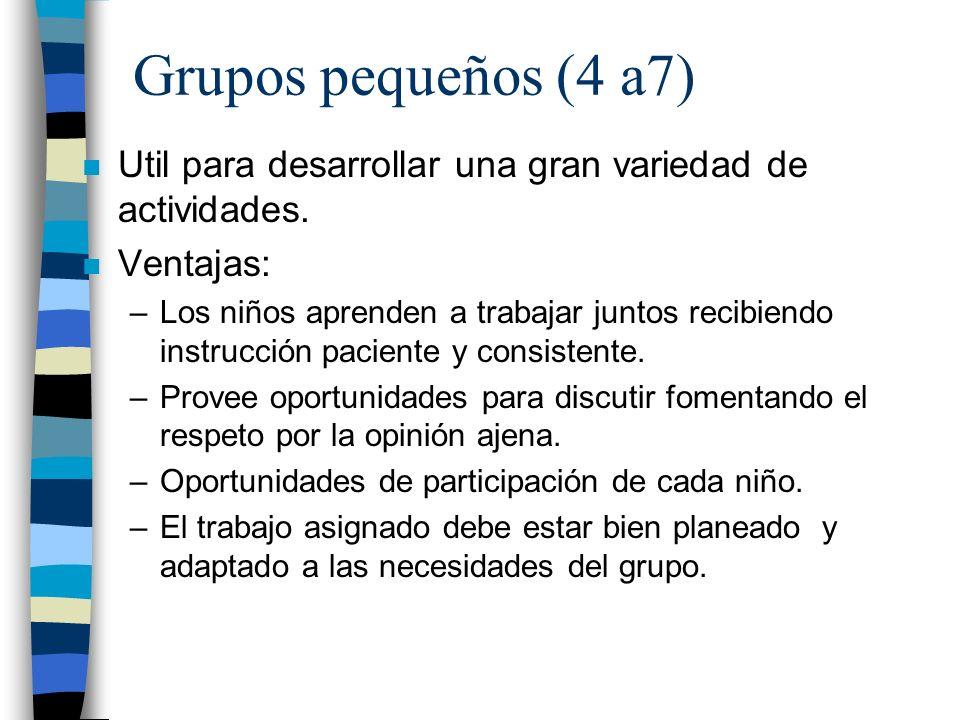 Grupos pequeños (4 a7) n Util para desarrollar una gran variedad de actividades. n Ventajas: –Los niños aprenden a trabajar juntos recibiendo instrucc
