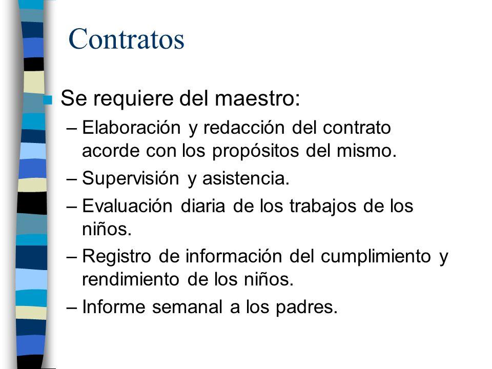 Contratos n Se requiere del maestro: –Elaboración y redacción del contrato acorde con los propósitos del mismo. –Supervisión y asistencia. –Evaluación
