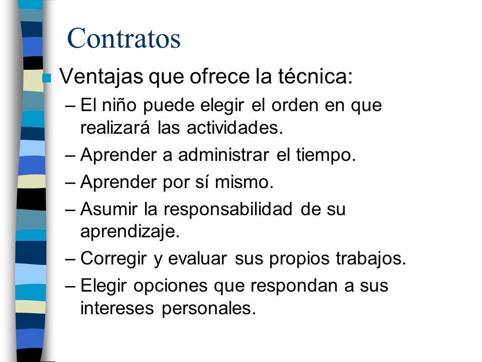 Contratos n Ventajas que ofrece la técnica: –El niño puede elegir el orden en que realizará las actividades. –Aprender a administrar el tiempo. –Apren