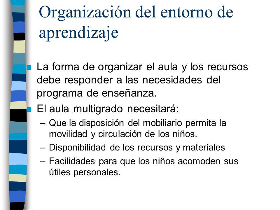 Organización del entorno de aprendizaje n La forma de organizar el aula y los recursos debe responder a las necesidades del programa de enseñanza. n E