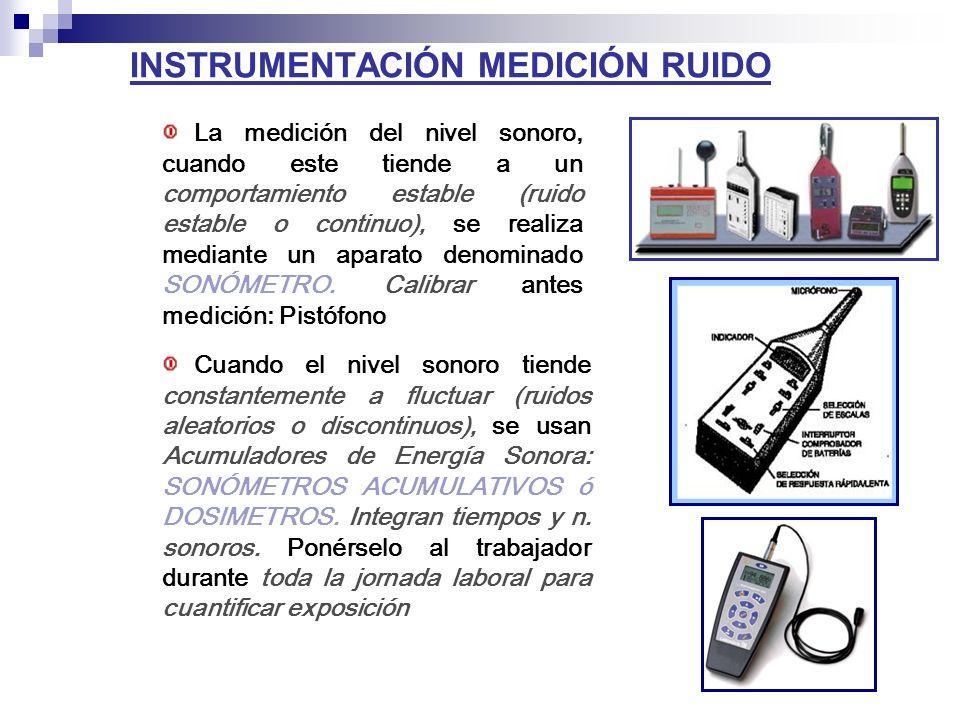 INSTRUMENTACIÓN MEDICIÓN RUIDO La medición del nivel sonoro, cuando este tiende a un comportamiento estable (ruido estable o continuo), se realiza mediante un aparato denominado SONÓMETRO.