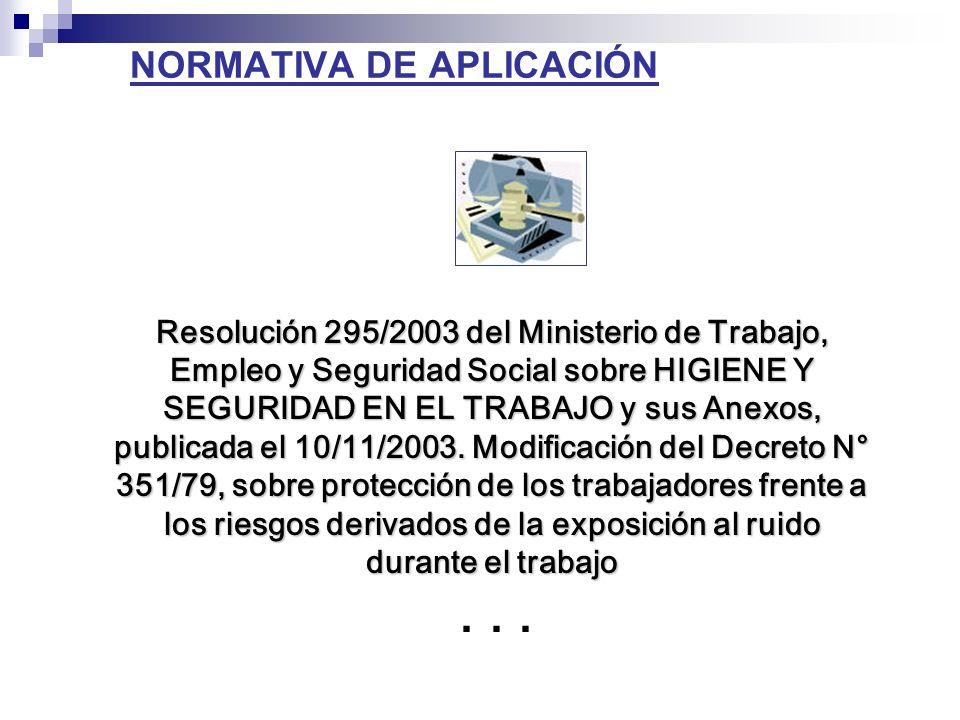 NORMATIVA DE APLICACIÓN Resolución 295/2003 del Ministerio de Trabajo, Empleo y Seguridad Social sobre HIGIENE Y SEGURIDAD EN EL TRABAJO y sus Anexos, publicada el 10/11/2003.