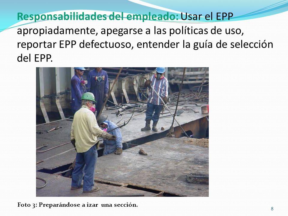 ¿Cuándo debe usarse el EPP? Foto 4: Área de tono y bote salvavidas en la grada. 9