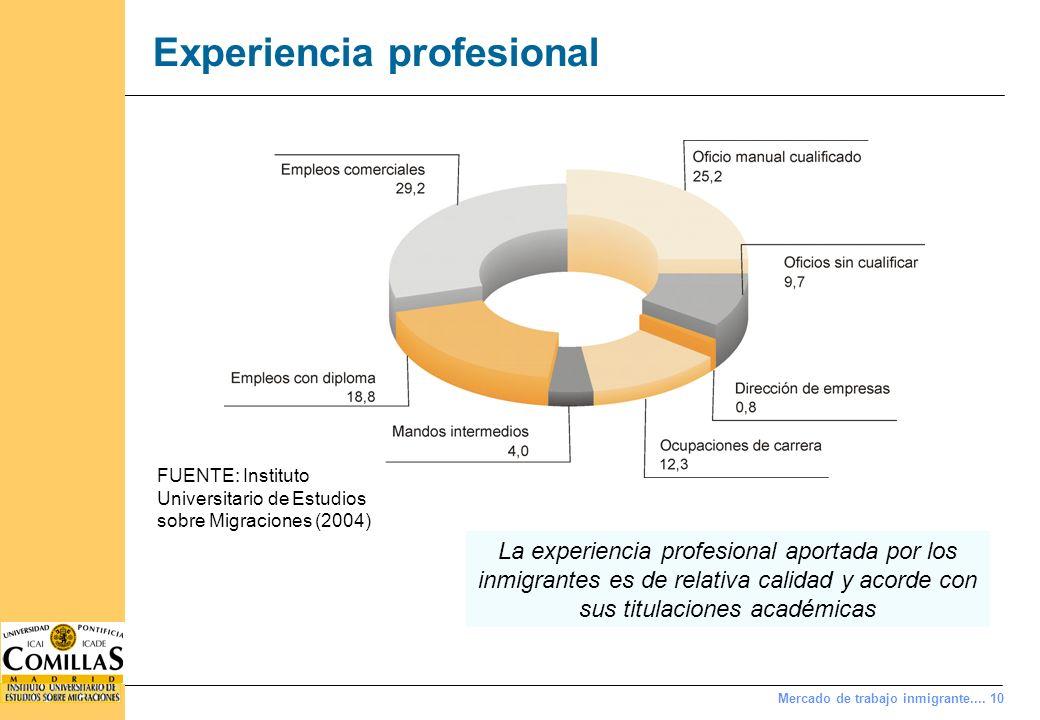 Mercado de trabajo inmigrante.... 10 Experiencia profesional FUENTE: Instituto Universitario de Estudios sobre Migraciones (2004) La experiencia profe