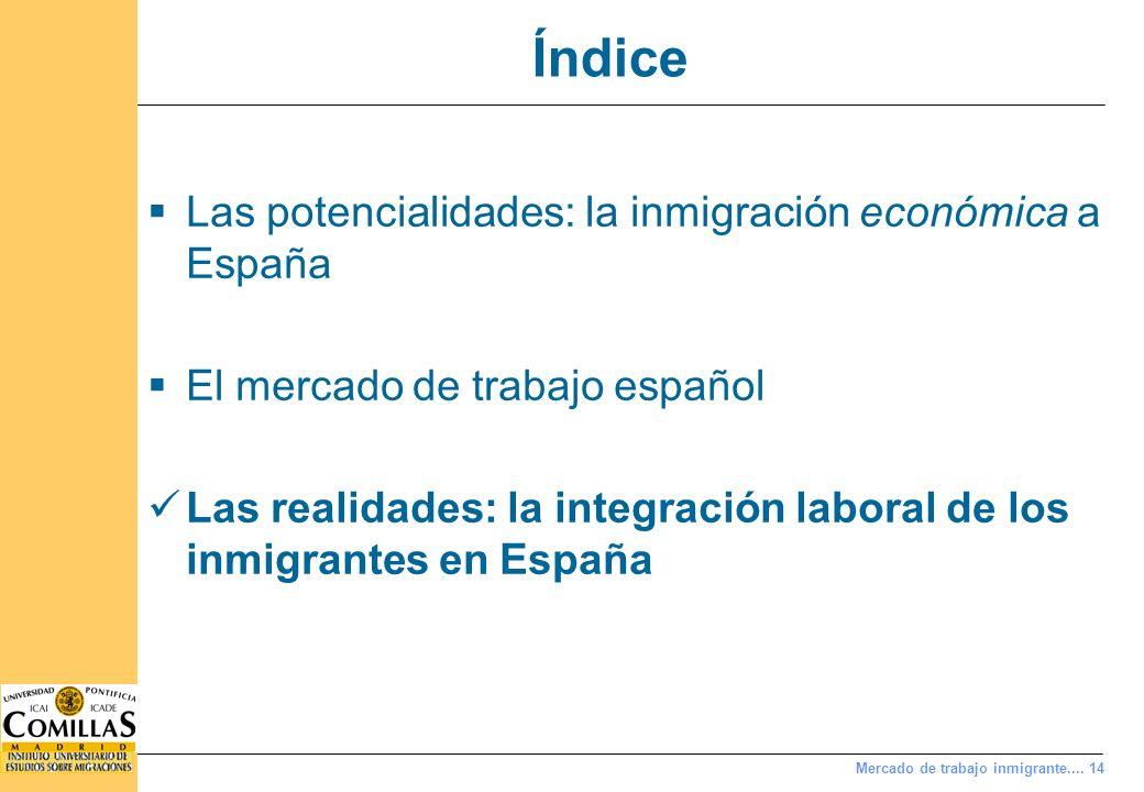 Mercado de trabajo inmigrante.... 14 Índice Las potencialidades: la inmigración económica a España El mercado de trabajo español Las realidades: la in