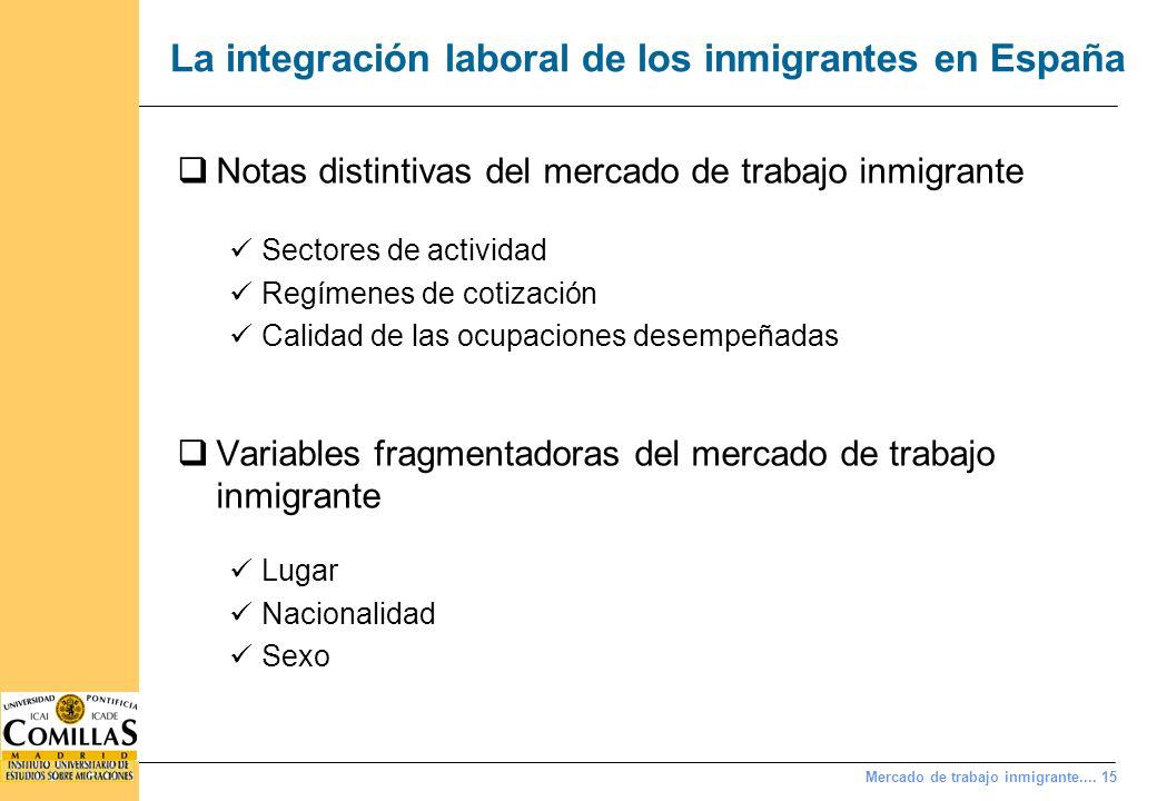Mercado de trabajo inmigrante.... 15 La integración laboral de los inmigrantes en España Notas distintivas del mercado de trabajo inmigrante Sectores
