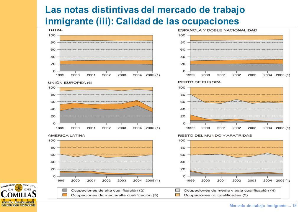 Mercado de trabajo inmigrante.... 18 Las notas distintivas del mercado de trabajo inmigrante (iii): Calidad de las ocupaciones