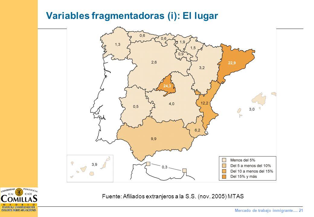 Mercado de trabajo inmigrante.... 21 Variables fragmentadoras (i): El lugar Fuente: Afiliados extranjeros a la S.S. (nov. 2005) MTAS