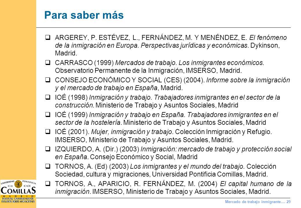 Mercado de trabajo inmigrante.... 29 Para saber más ARGEREY, P. ESTÉVEZ, L., FERNÁNDEZ, M. Y MENÉNDEZ, E. El fenómeno de la inmigración en Europa. Per