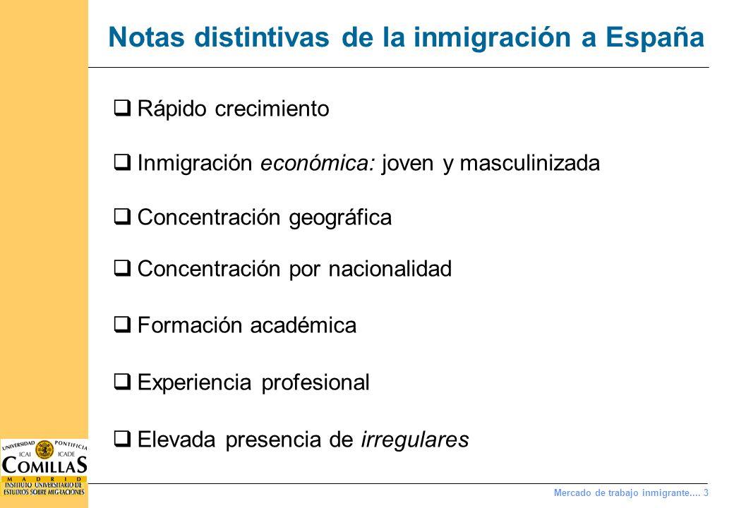 Mercado de trabajo inmigrante.... 3 Notas distintivas de la inmigración a España Rápido crecimiento Inmigración económica: joven y masculinizada Conce