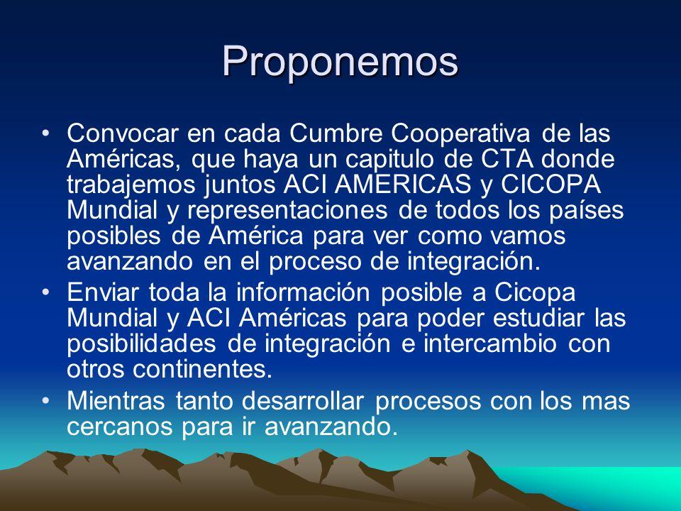 Proponemos Convocar en cada Cumbre Cooperativa de las Américas, que haya un capitulo de CTA donde trabajemos juntos ACI AMERICAS y CICOPA Mundial y representaciones de todos los países posibles de América para ver como vamos avanzando en el proceso de integración.