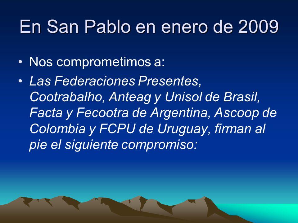 En San Pablo en enero de 2009 Nos comprometimos a: Las Federaciones Presentes, Cootrabalho, Anteag y Unisol de Brasil, Facta y Fecootra de Argentina,