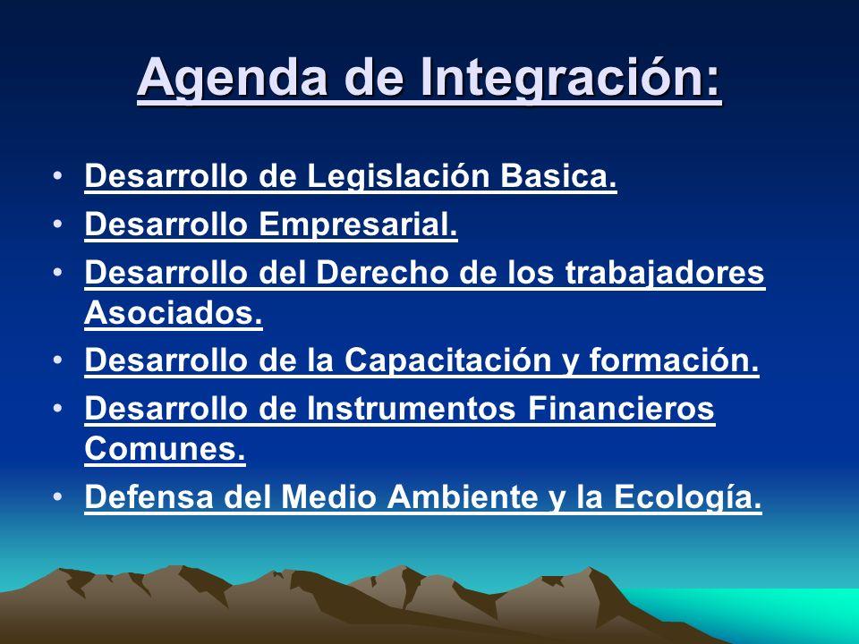 Agenda de Integración: Desarrollo de Legislación Basica. Desarrollo Empresarial. Desarrollo del Derecho de los trabajadores Asociados. Desarrollo de l