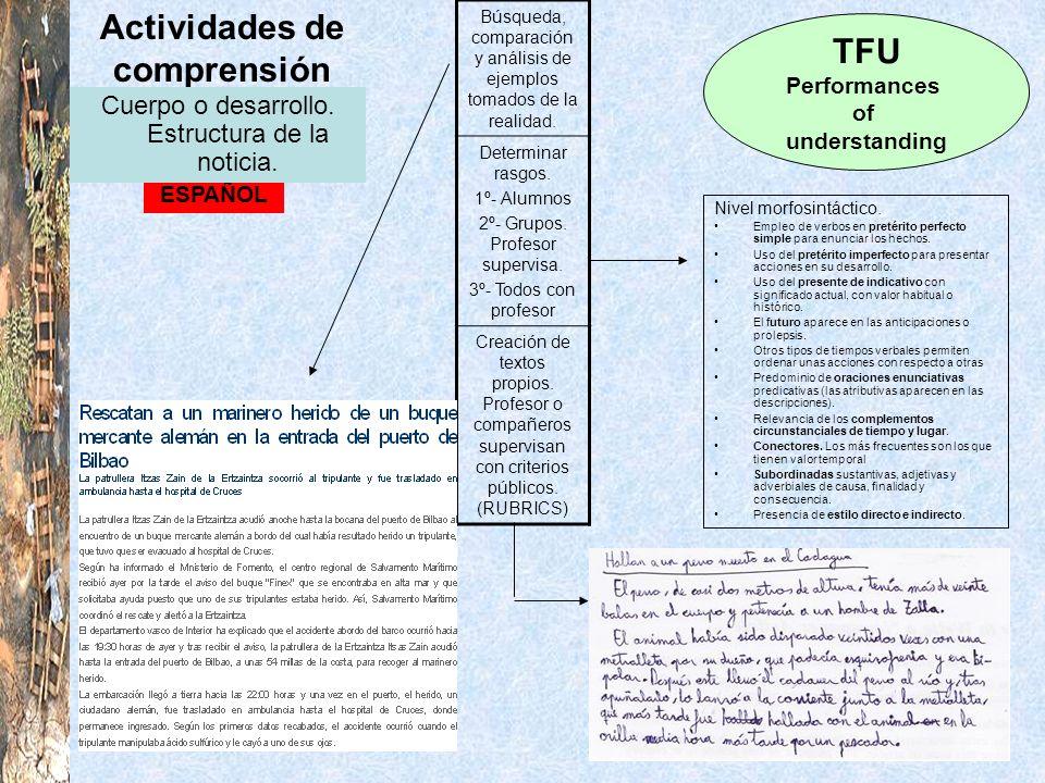Actividades de comprensión TFU Performances of understanding ESPAÑOL Cuerpo o desarrollo. Estructura de la noticia. Búsqueda, comparación y análisis d