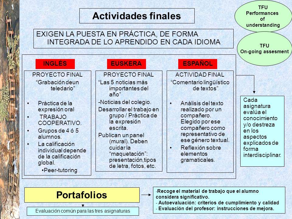 Actividades finales TFU Performances of understanding TFU On-going assesment EXIGEN LA PUESTA EN PRÁCTICA, DE FORMA INTEGRADA DE LO APRENDIDO EN CADA