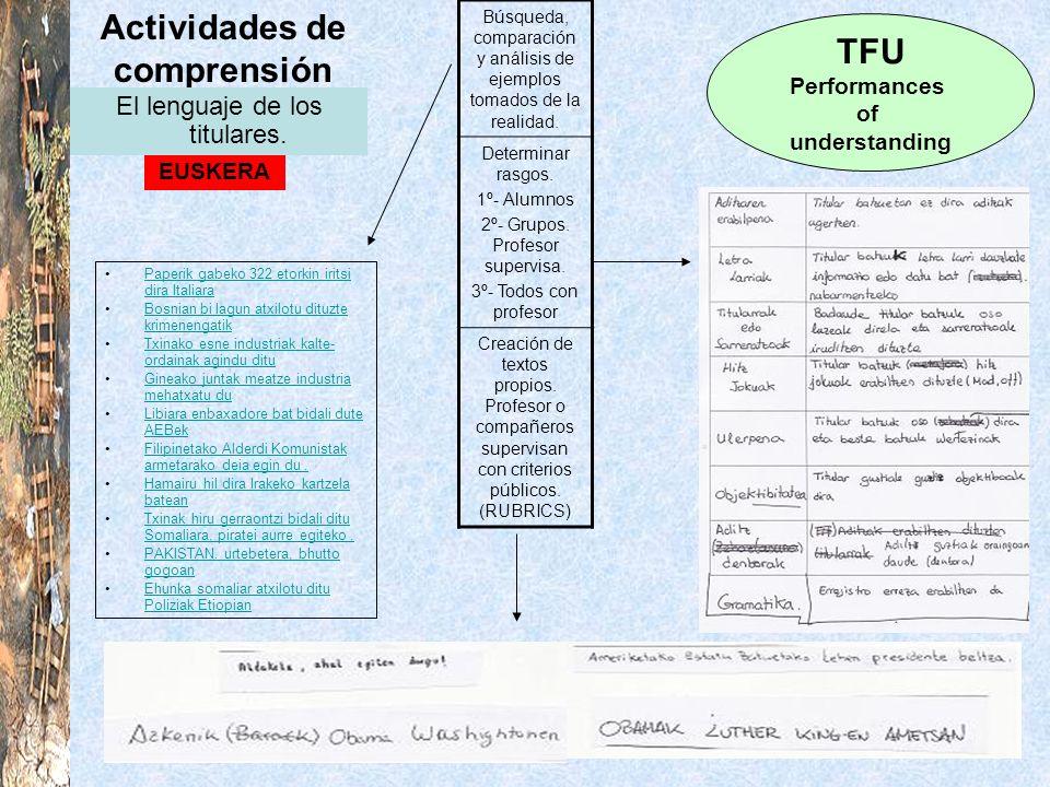 Actividades de comprensión TFU Performances of understanding EUSKERA El lenguaje de los titulares. Búsqueda, comparación y análisis de ejemplos tomado