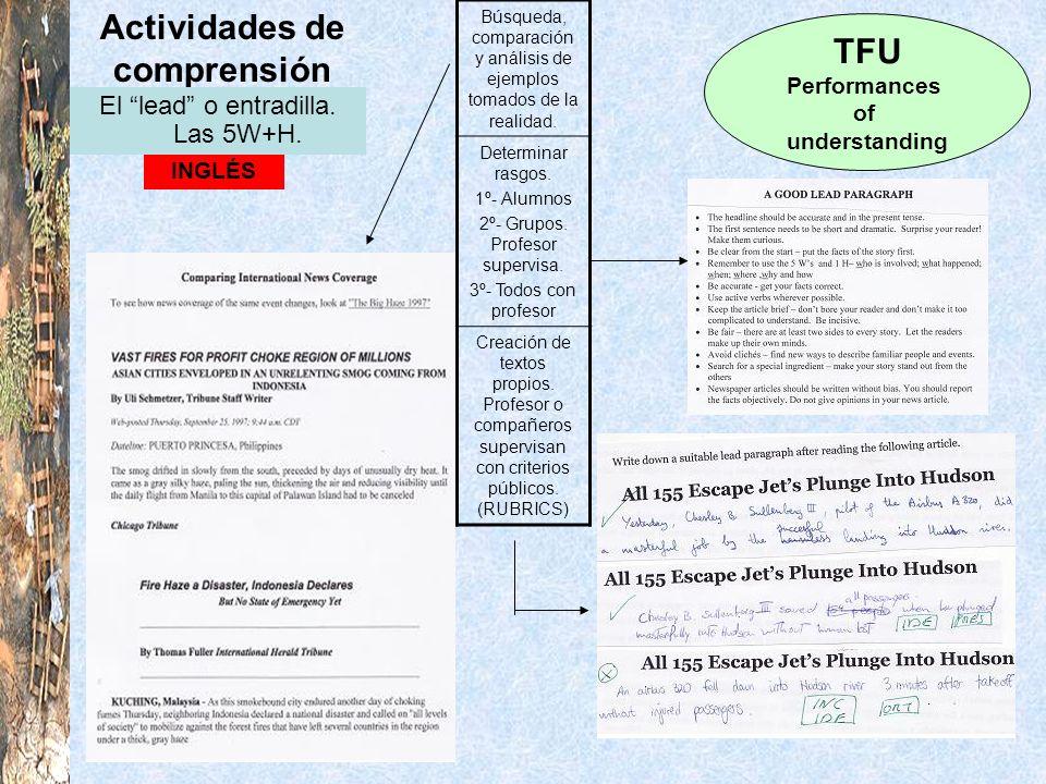 Actividades de comprensión TFU Performances of understanding INGLÉS El lead o entradilla. Las 5W+H. Búsqueda, comparación y análisis de ejemplos tomad
