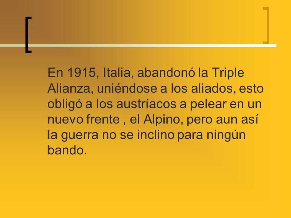 En 1915, Italia, abandonó la Triple Alianza, uniéndose a los aliados, esto obligó a los austríacos a pelear en un nuevo frente, el Alpino, pero aun as