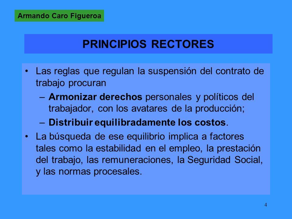 4 PRINCIPIOS RECTORES Las reglas que regulan la suspensión del contrato de trabajo procuran –Armonizar derechos personales y políticos del trabajador, con los avatares de la producción; –Distribuir equilibradamente los costos.