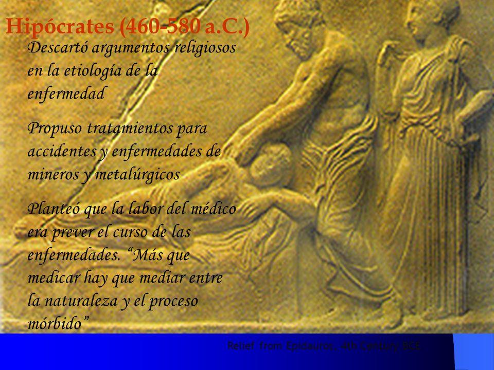 Relief from Epidauros, 4th Century BCE Hipócrates (460-580 a.C.) Descartó argumentos religiosos en la etiología de la enfermedad Propuso tratamientos