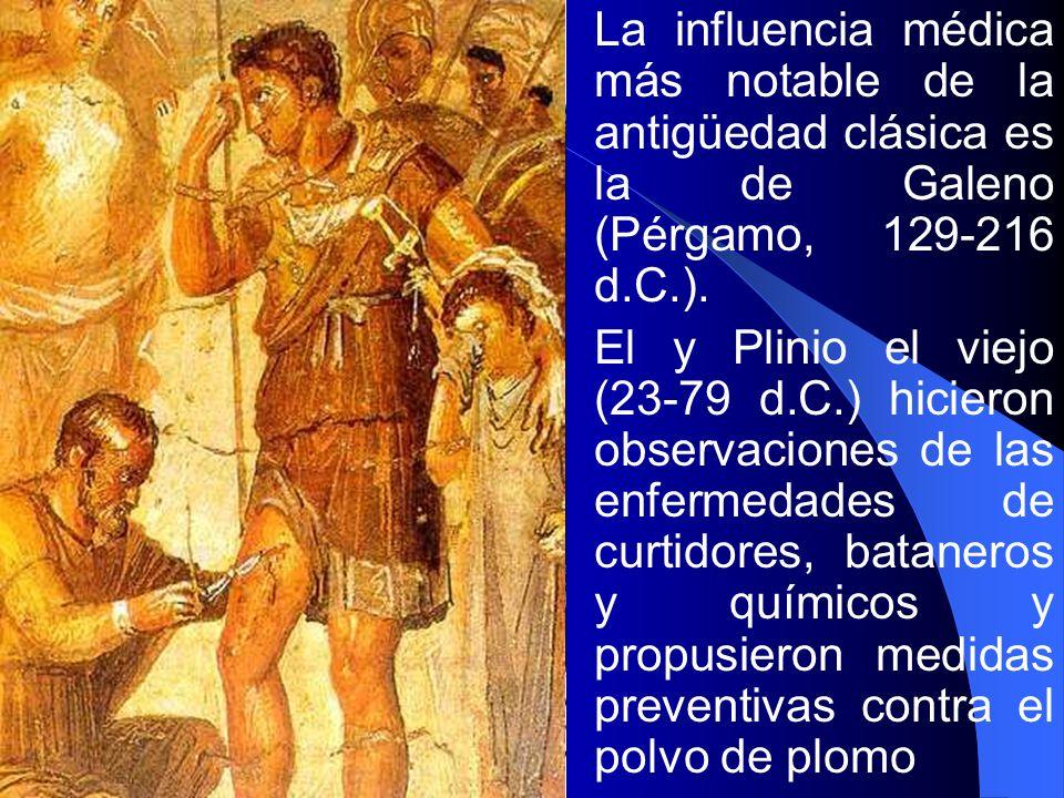 La influencia médica más notable de la antigüedad clásica es la de Galeno (Pérgamo, 129-216 d.C.). El y Plinio el viejo (23-79 d.C.) hicieron observac