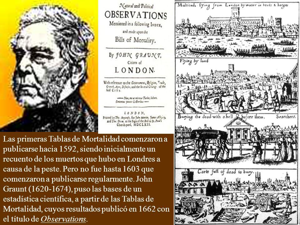 Las primeras Tablas de Mortalidad comenzaron a publicarse hacia 1592, siendo inicialmente un recuento de los muertos que hubo en Londres a causa de la