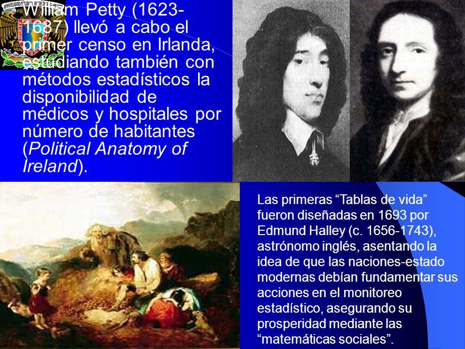 William Petty (1623- 1687) llevó a cabo el primer censo en Irlanda, estudiando también con métodos estadísticos la disponibilidad de médicos y hospita