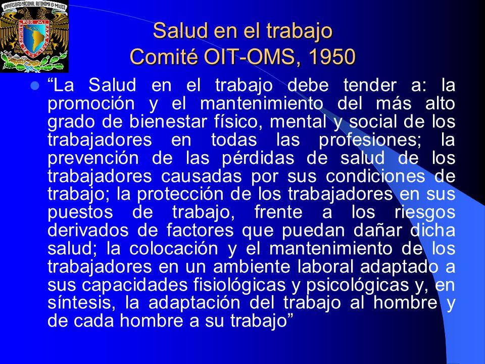 Salud en el trabajo Comité OIT-OMS, 1950 La Salud en el trabajo debe tender a: la promoción y el mantenimiento del más alto grado de bienestar físico,