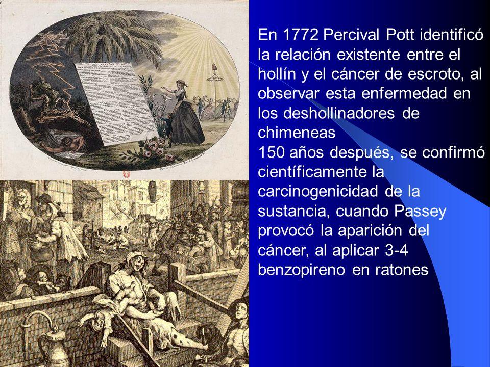 En 1772 Percival Pott identificó la relación existente entre el hollín y el cáncer de escroto, al observar esta enfermedad en los deshollinadores de c