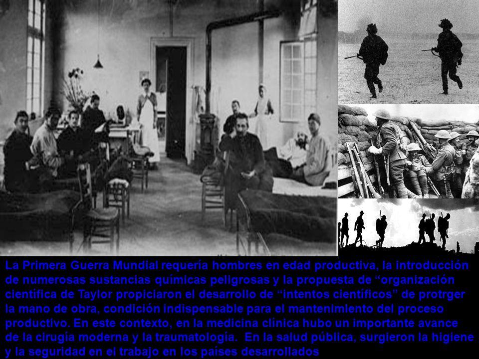 La Primera Guerra Mundial requería hombres en edad productiva, la introducción de numerosas sustancias químicas peligrosas y la propuesta de organizac