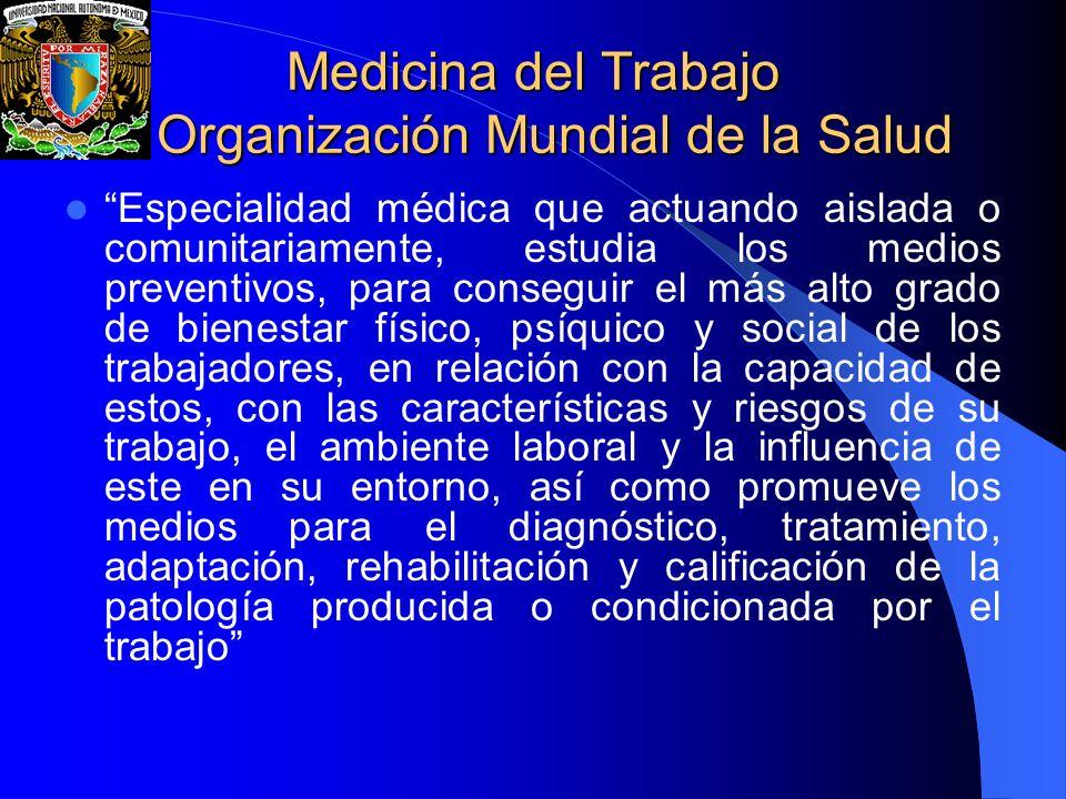Medicina del Trabajo Organización Mundial de la Salud Especialidad médica que actuando aislada o comunitariamente, estudia los medios preventivos, par