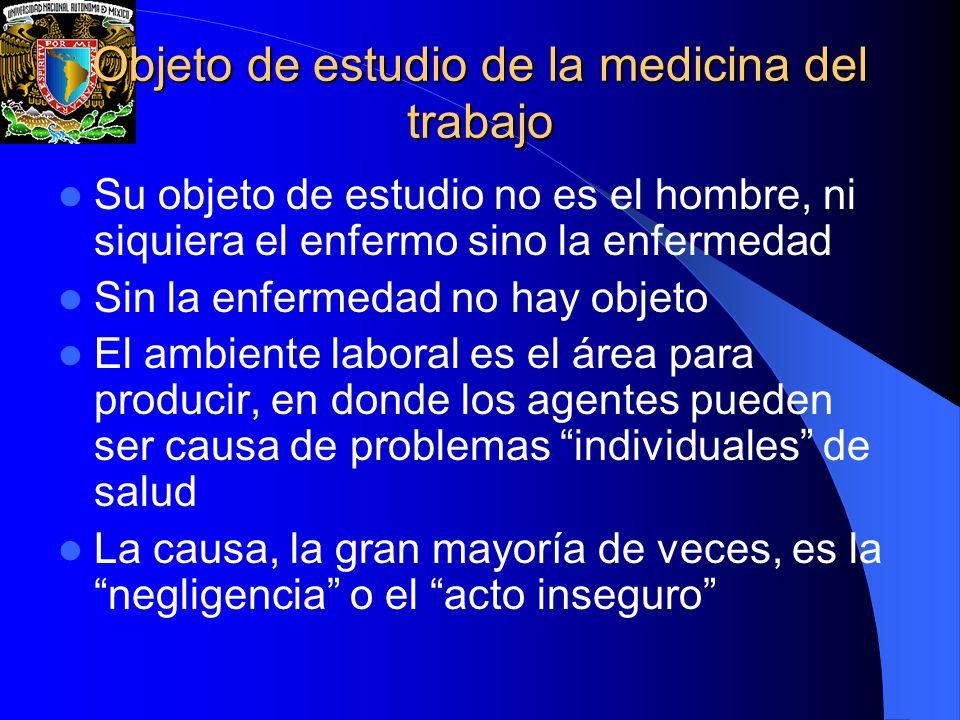 Objeto de estudio de la medicina del trabajo Su objeto de estudio no es el hombre, ni siquiera el enfermo sino la enfermedad Sin la enfermedad no hay