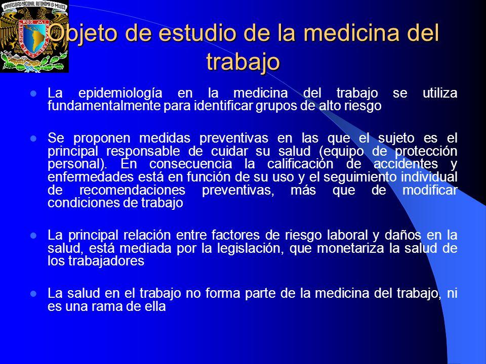 Objeto de estudio de la medicina del trabajo La epidemiología en la medicina del trabajo se utiliza fundamentalmente para identificar grupos de alto r