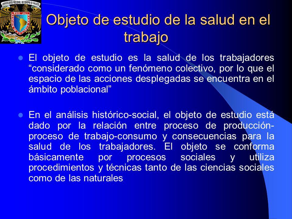 Objeto de estudio de la salud en el trabajo Objeto de estudio de la salud en el trabajo El objeto de estudio es la salud de los trabajadores considera