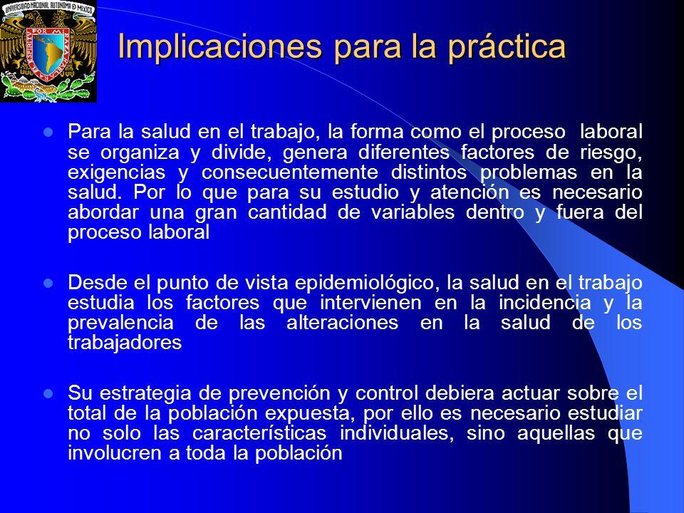 Implicaciones para la práctica Las acciones de política gubernamental en salud en el trabajo, como parte de la salud pública, están estrechamente involucradas con la disciplina personal y de grupo, mientras que en la medicina del trabajo, están relacionadas con la medicina misma.