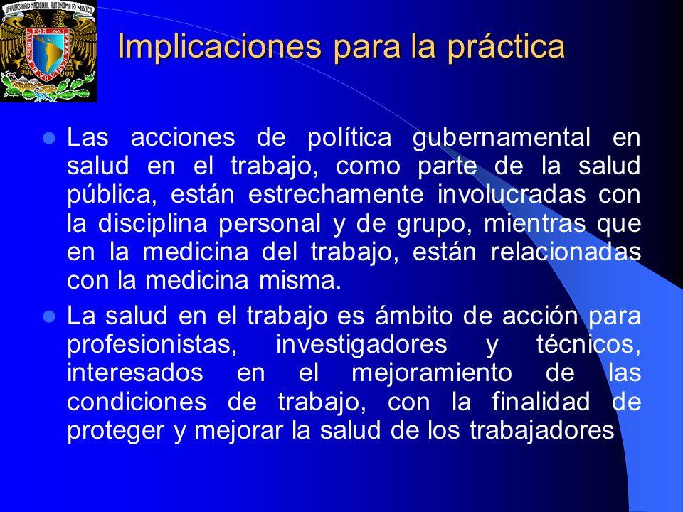 Implicaciones para la práctica Las acciones de política gubernamental en salud en el trabajo, como parte de la salud pública, están estrechamente invo