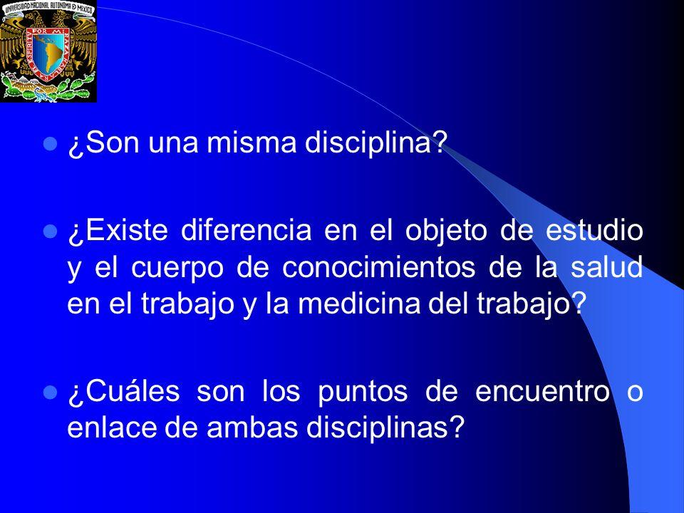 ¿Son una misma disciplina? ¿Existe diferencia en el objeto de estudio y el cuerpo de conocimientos de la salud en el trabajo y la medicina del trabajo