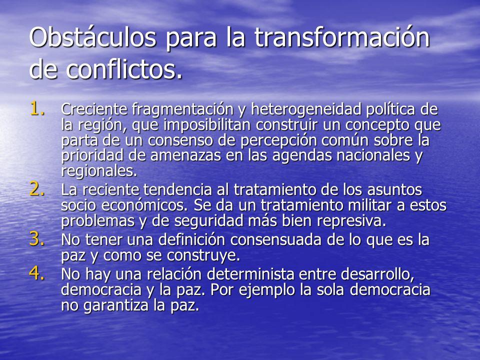 Obstáculos para la transformación de conflictos. 1. Creciente fragmentación y heterogeneidad política de la región, que imposibilitan construir un con