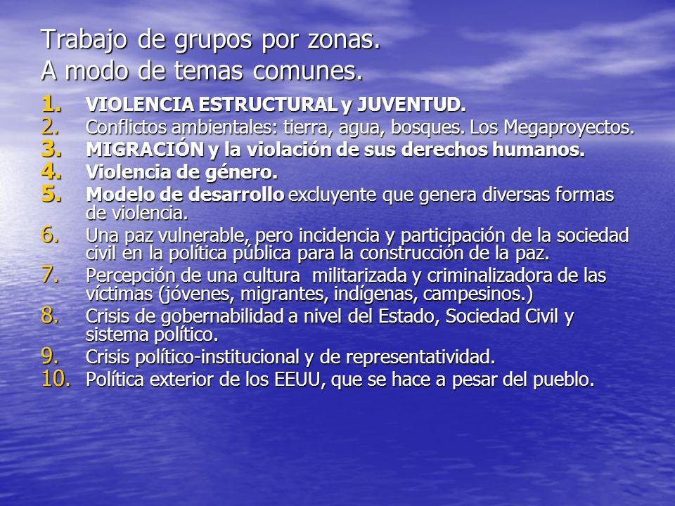 Trabajo de grupos por zonas. A modo de temas comunes. 1. VIOLENCIA ESTRUCTURAL y JUVENTUD. 2. Conflictos ambientales: tierra, agua, bosques. Los Megap