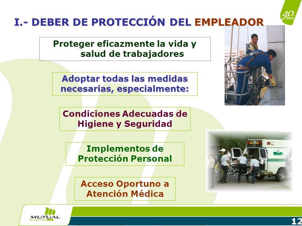 12 Proteger eficazmente la vida y salud de trabajadores Condiciones Adecuadas de Higiene y Seguridad Implementos de Protección Personal Acceso Oportun