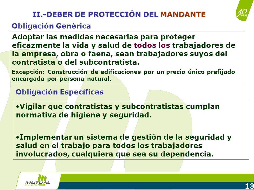 13 Adoptar las medidas necesarias para proteger eficazmente la vida y salud de todos los trabajadores de la empresa, obra o faena, sean trabajadores s